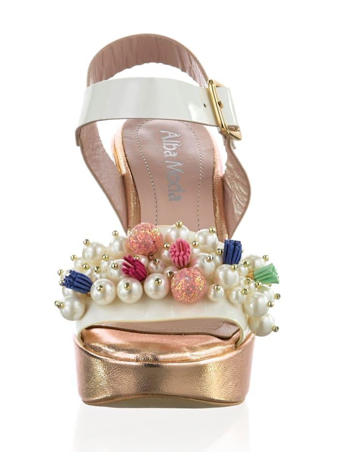 Sandalette mit üppig besetztem Riemen