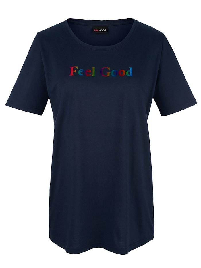 MIAMODA T-shirt à imprimé pelliculé, Marine