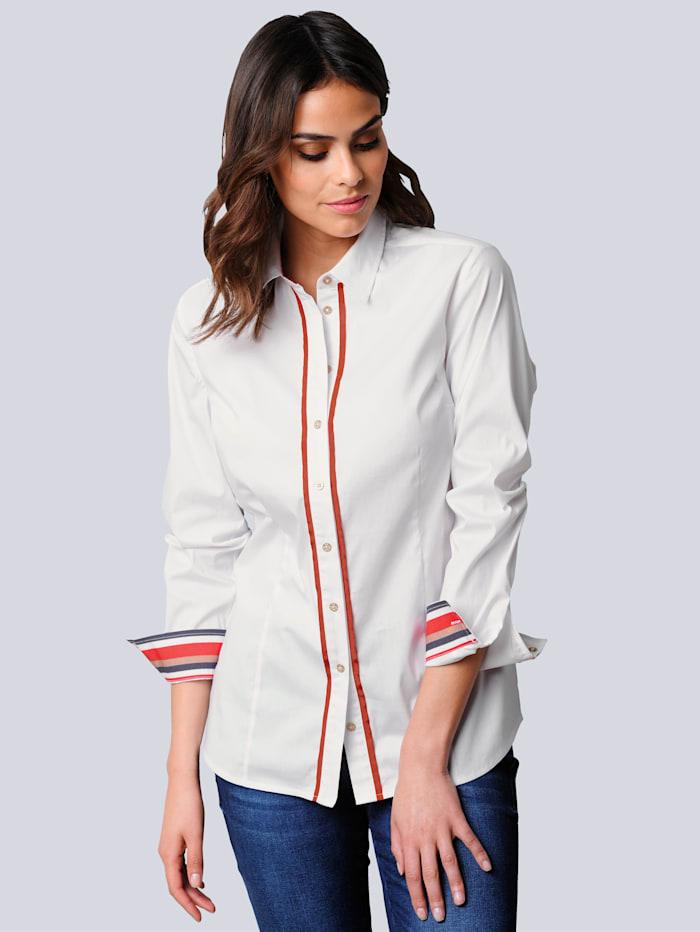 Alba Moda Bluse mit effektvoller Rückenpasse, Weiß/Orange/Marineblau
