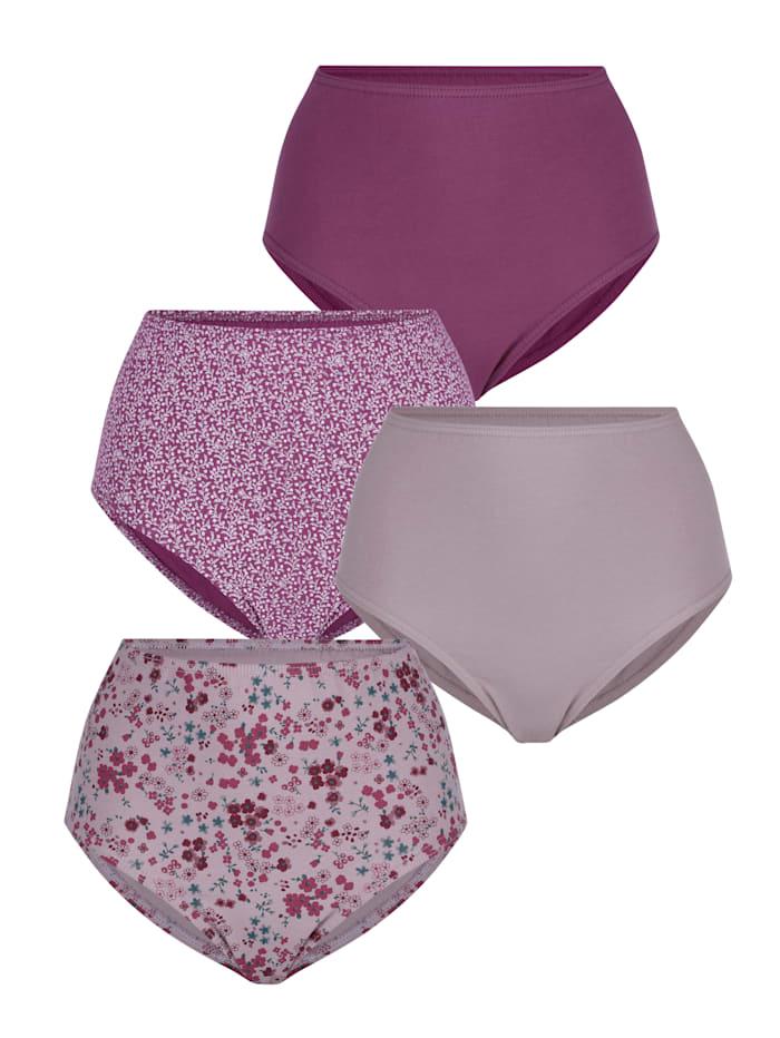 Harmony Taillenslips im 4er-Pack im Mustermix, Rosé/Beere