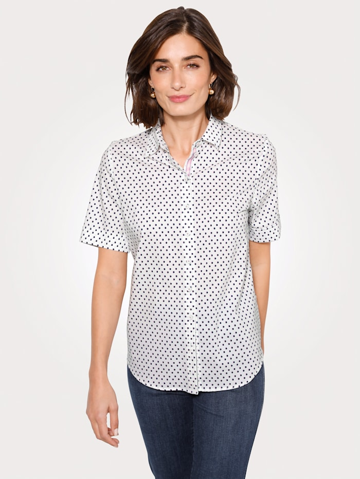 ERFO Blouse, Wit/Marine/Pink