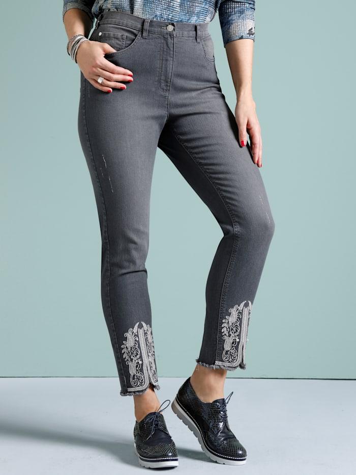 MIAMODA Jeans met contrastkleurig borduursel aan de zoom, Grey