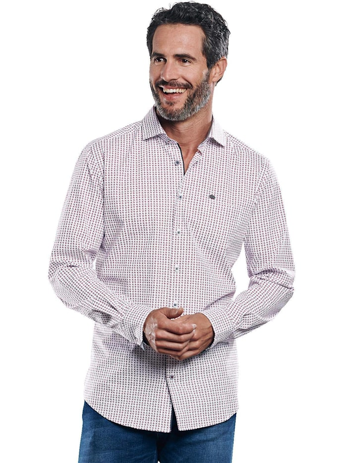 Engbers Elastisches Langarmhemd, Weinrot