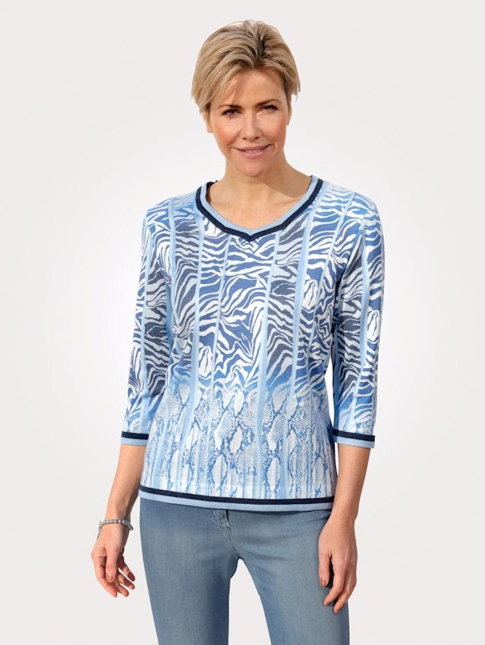 DiStrick Pullover mit V-Ausschnitt, Blau/Marineblau