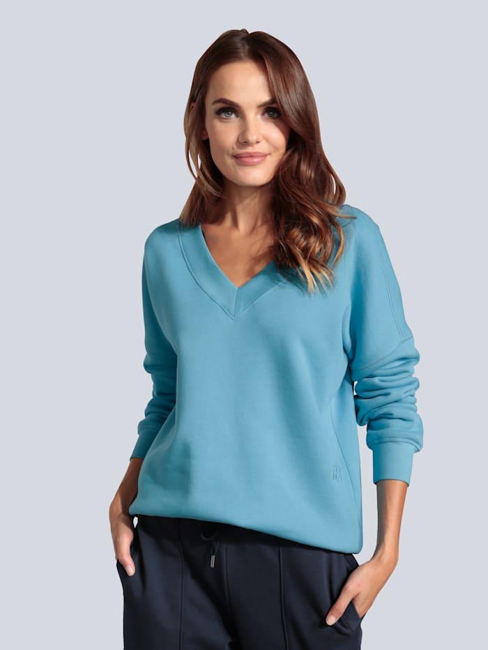 MARGITTES Sweatshirt mit Rippblende, Blau