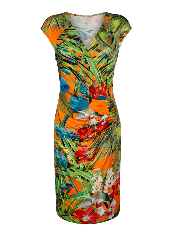 Alba Moda Jurk met tropische bloemenprint, Oranje