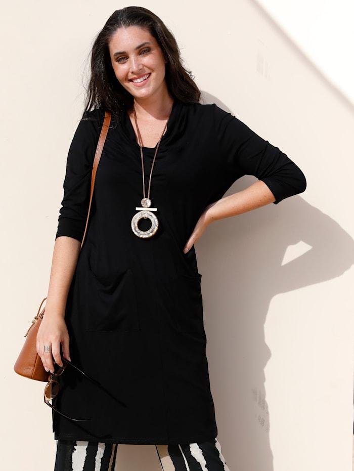 MIAMODA T-shirt long à jolie variante de col, Noir