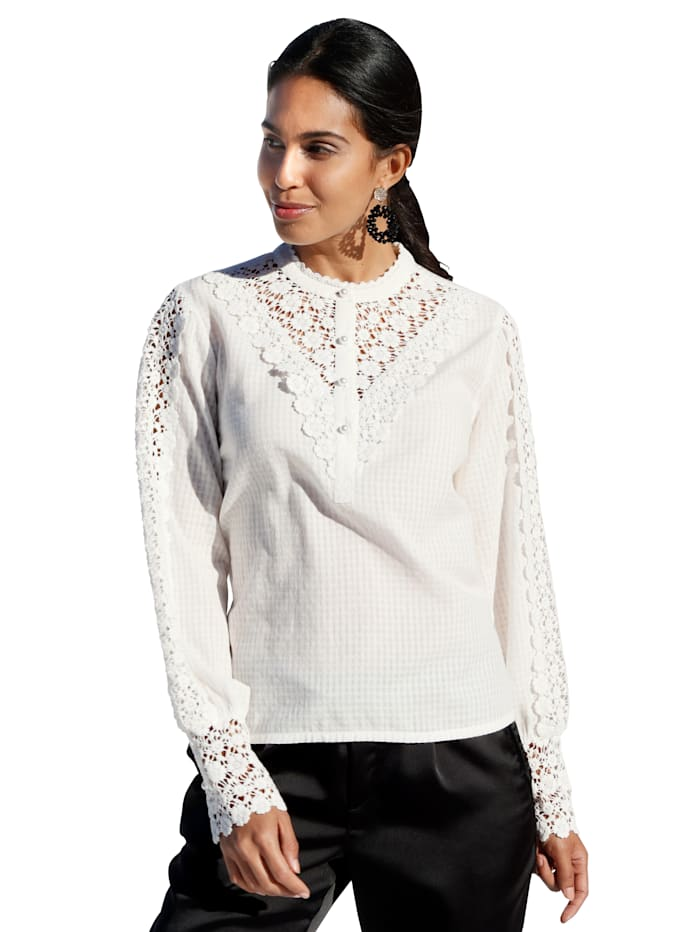 Cream Bluse mit Spitzeneinsatz, Off-white