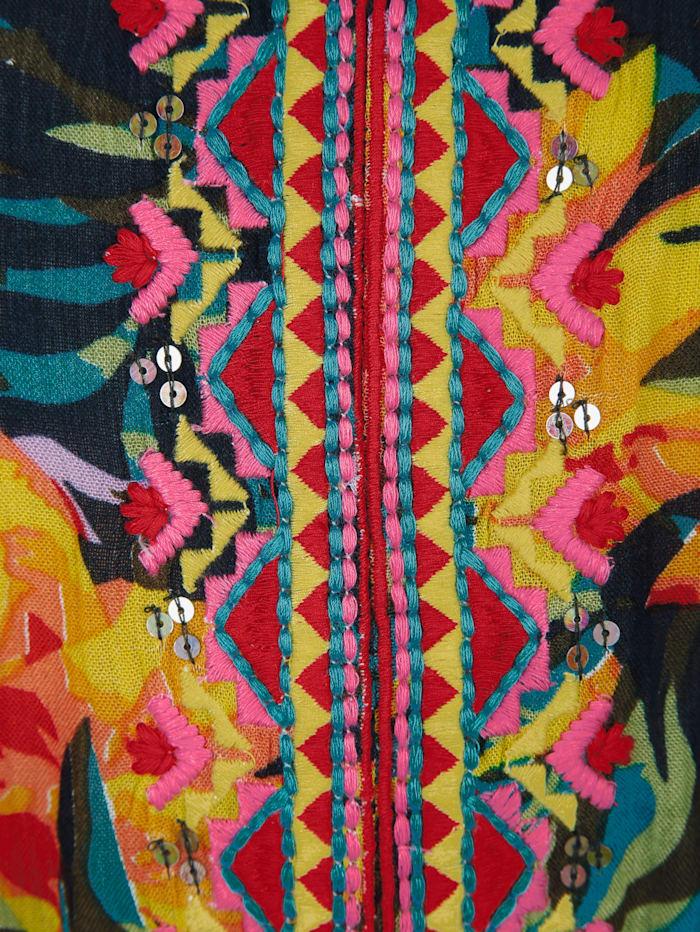 Strandkleid mit buntem Dschungeldruck und Stickerei