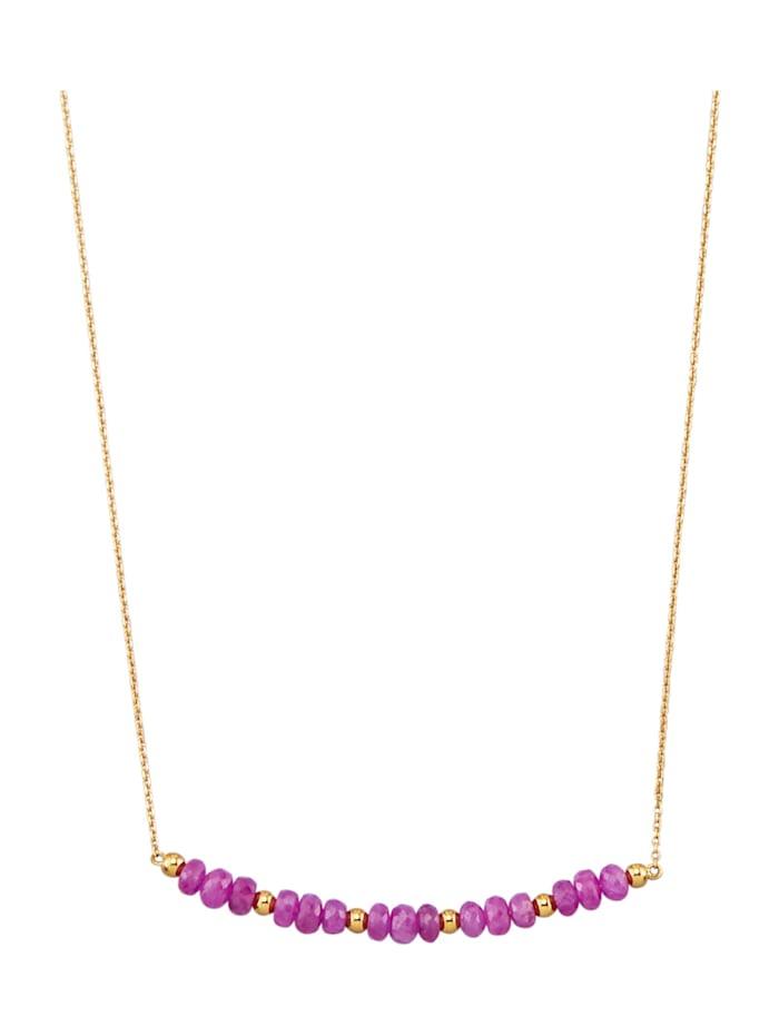 Halsband i 9 k guld, Röd