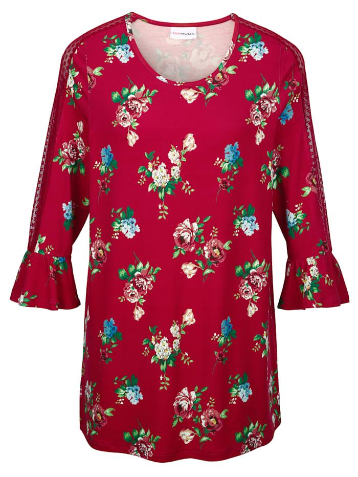 MIAMODA Shirt met transparante inzetten van kant aan de mouwen, Rood/Multicolor