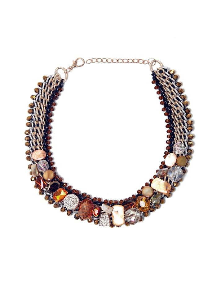 Collezione Alessandro Opulente Statementkette Natascha mit unterschiedlichen Glassteinen, mehrfarbig