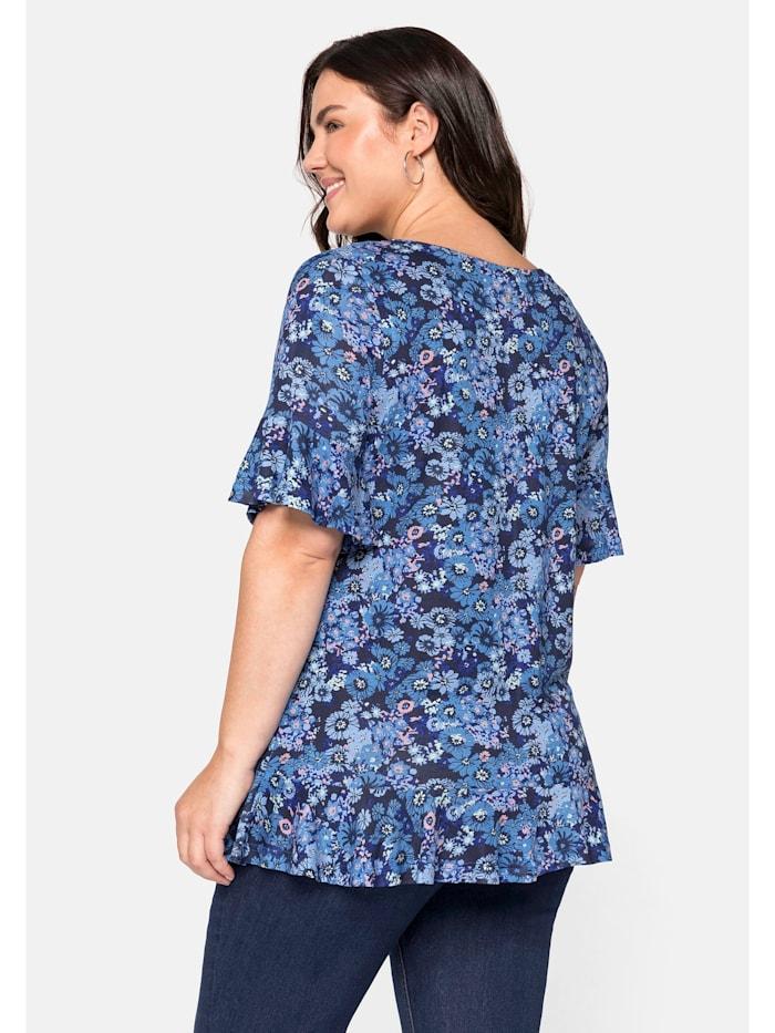 Sheego Shirt mit Volants und Blumendruck