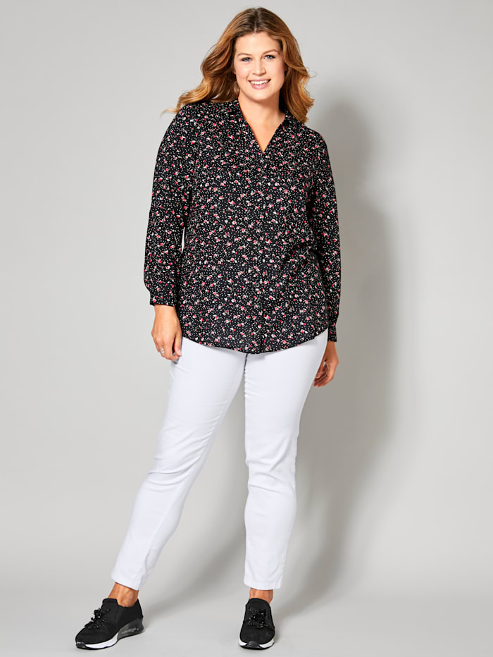 Janet & Joyce Blouse met overhemdkraag, Zwart/Rood
