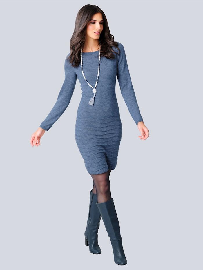 Alba Moda Strickkleid mit modischer Strick-Struktur, Blau