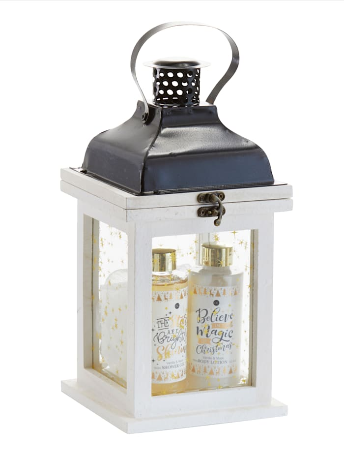 Verzorgingsset WINTER MAGIC In een fraaie houten lantaarn, Multicolor