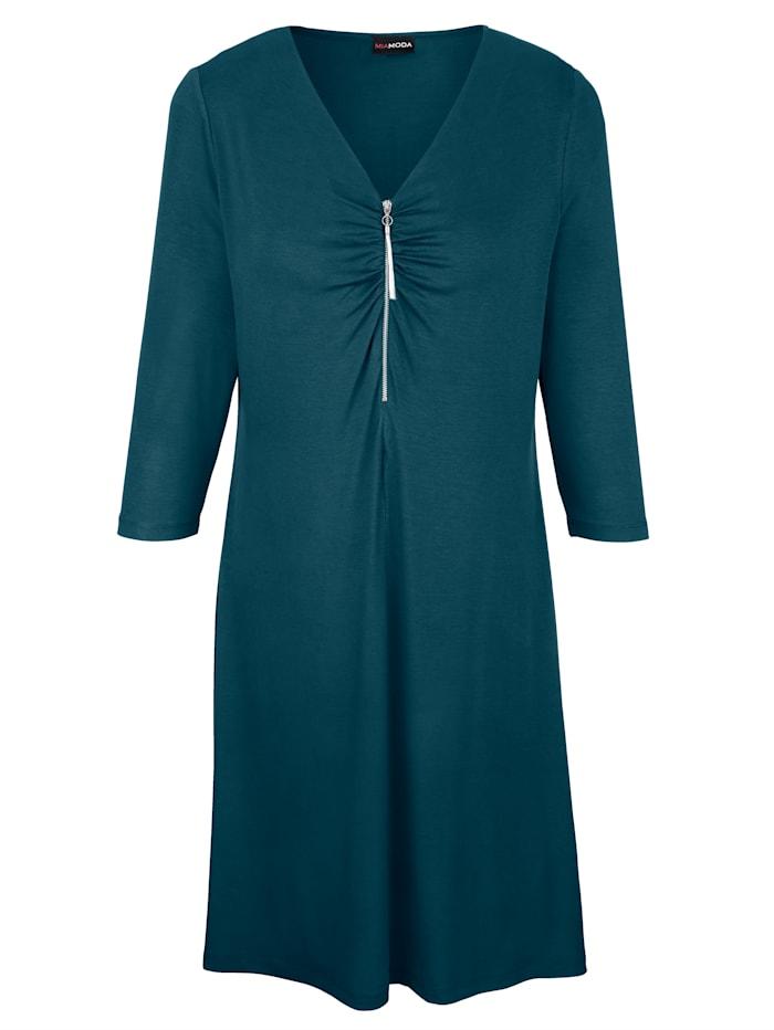 Jerseykleid mit Reißverschluss und Raffung am Ausschnitt