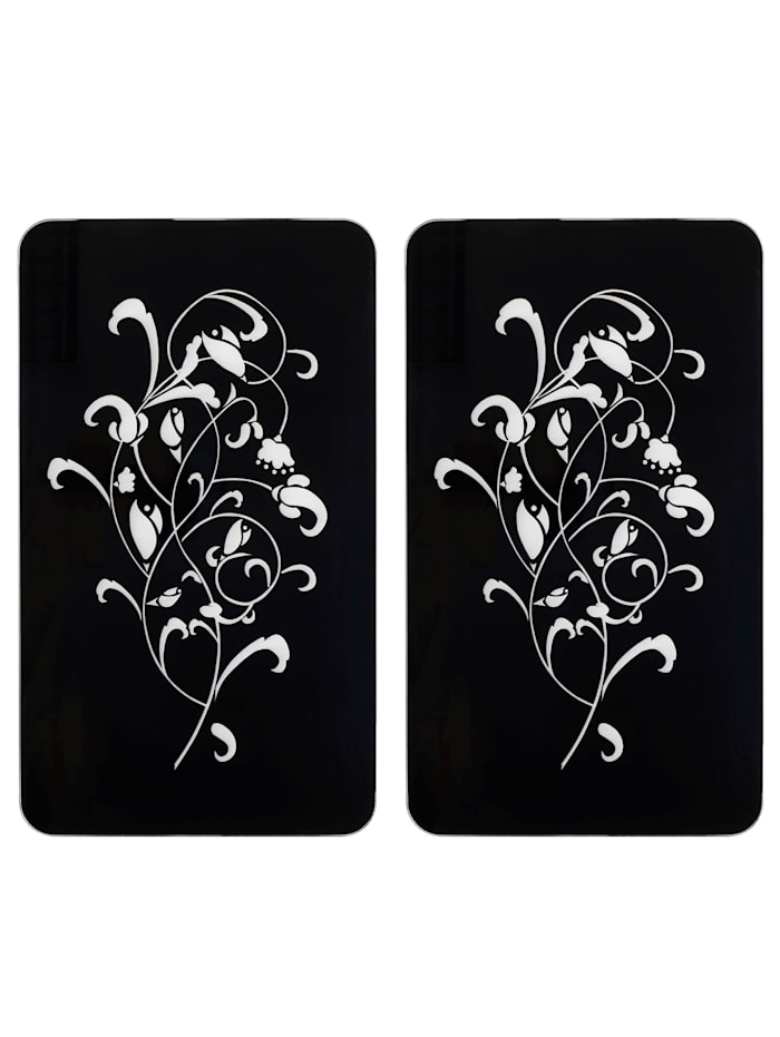 Wenko Lot de 2 plaques de cuisson 'Ornamento Nero', Noir/blanc