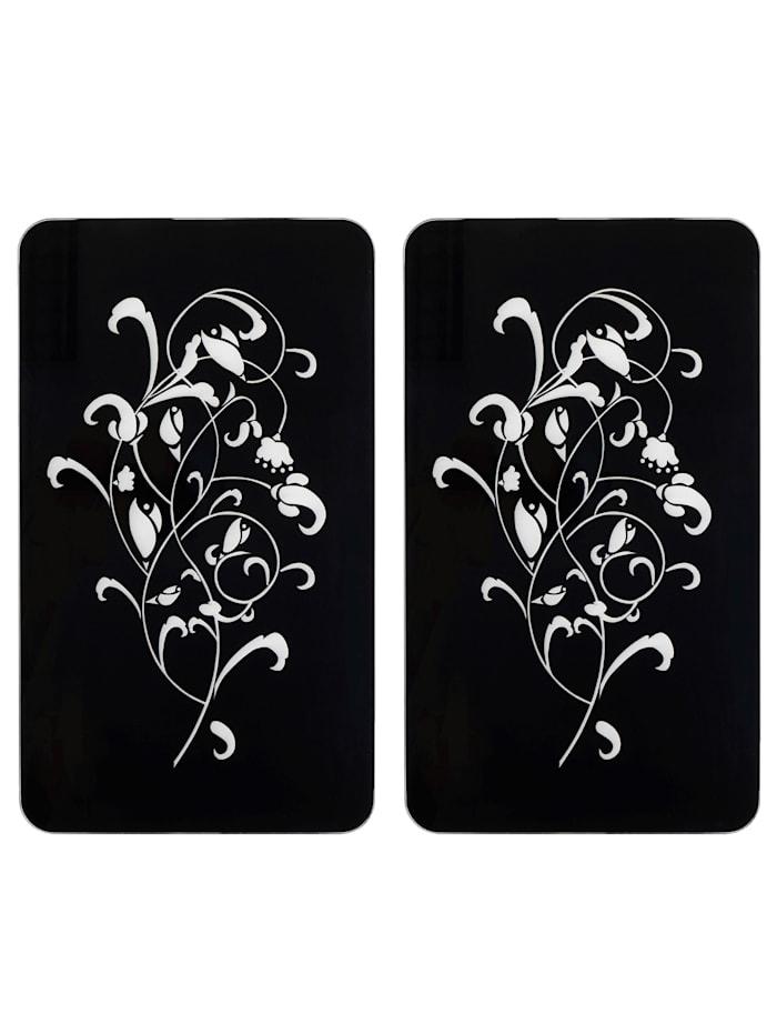 Wenko Lot de 2 protège-plaques 'Ornamento Nero', Noir/blanc