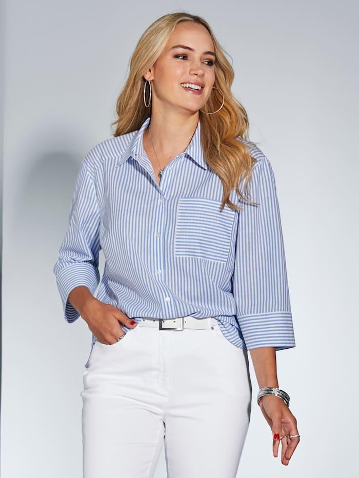 MIAMODA Longbluse mit aufgesetzter Brusttasche, Hellblau/Weiß