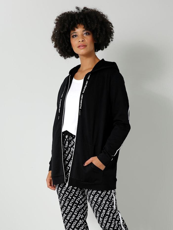 Angel of Style Sweatjacke mit Schriftzug an den Ärmeln und am Rücken, Schwarz/Weiß