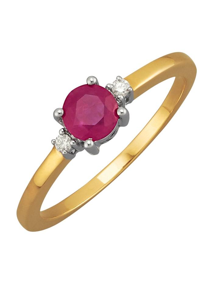 Diemer Farbstein Damenring mit Rubin und Diamanten, Rot