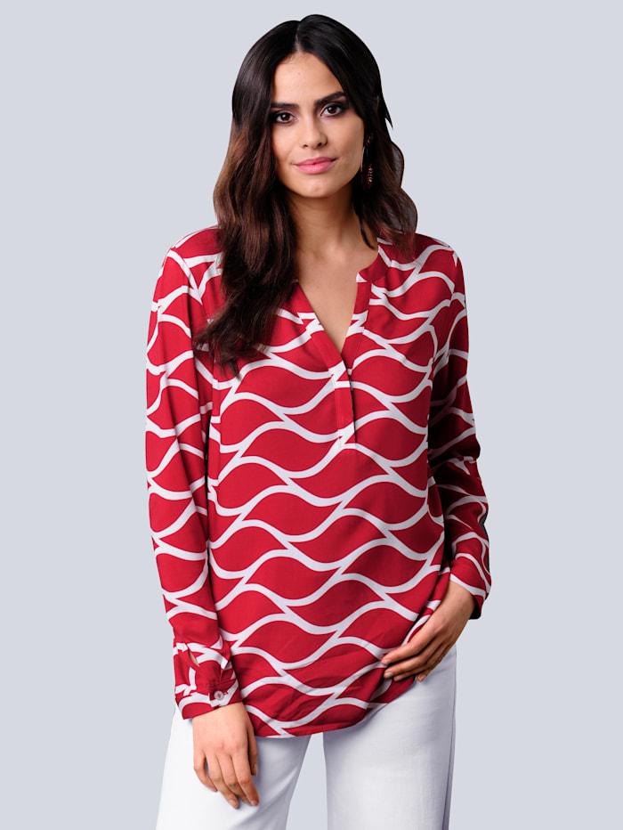 Alba Moda Bluse mit grafischem Dessin, Rot/Off-white