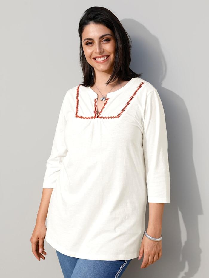MIAMODA Shirt mit modischer Stickerei, Creme-Weiß