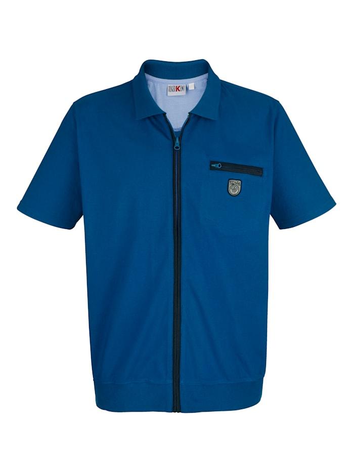Roger Kent Džersej košeľa so zapínaním na zips, Modrá
