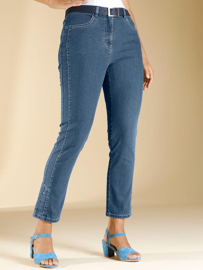 m. collection 7/8 Jeans mit Nietenapplikation am Saum, Blue bleached
