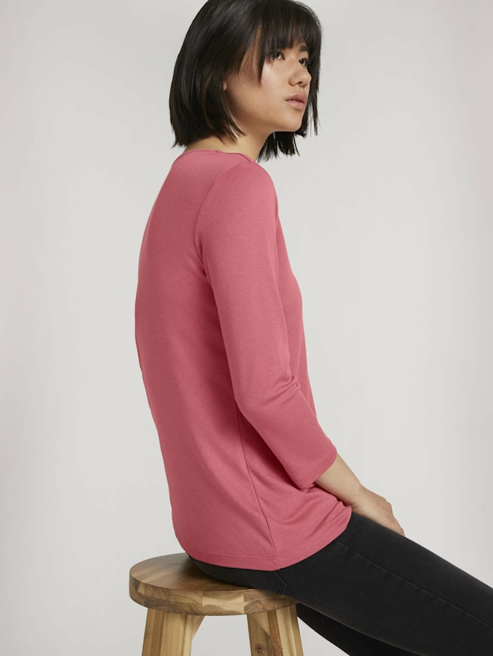 Tom Tailor Basic 3/4 Arm Shirt mit TENCEL(TM) Modal, cozy pink