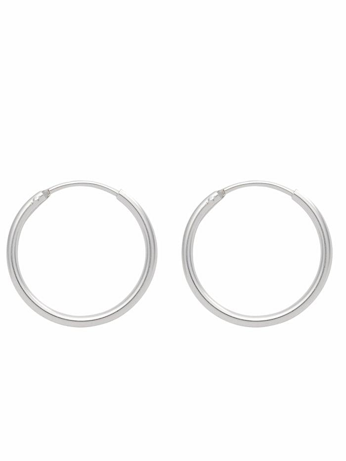 1001 Diamonds Damen Silberschmuck 925 Silber Ohrringe / Creolen Ø 11 mm, silber