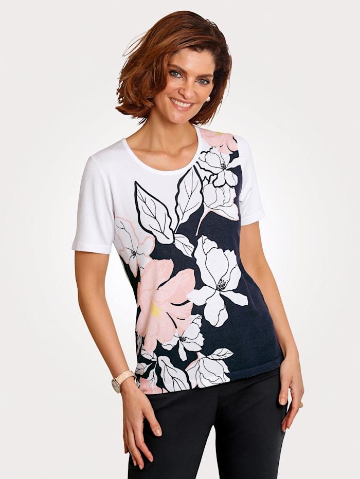 MONA Pullover mit Blumendessin, Weiß/Marineblau/Rosé