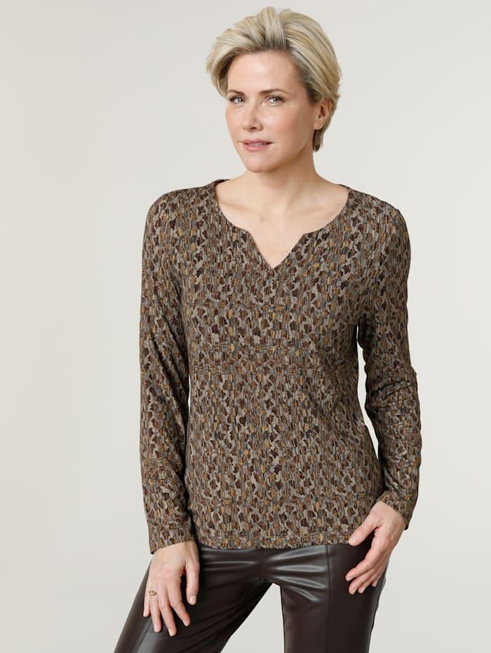 MONA Shirt met opvallend dessin allover, Riet/Bruin