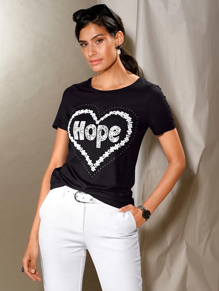 AMY VERMONT Shirt mit Schriftzug, Schwarz