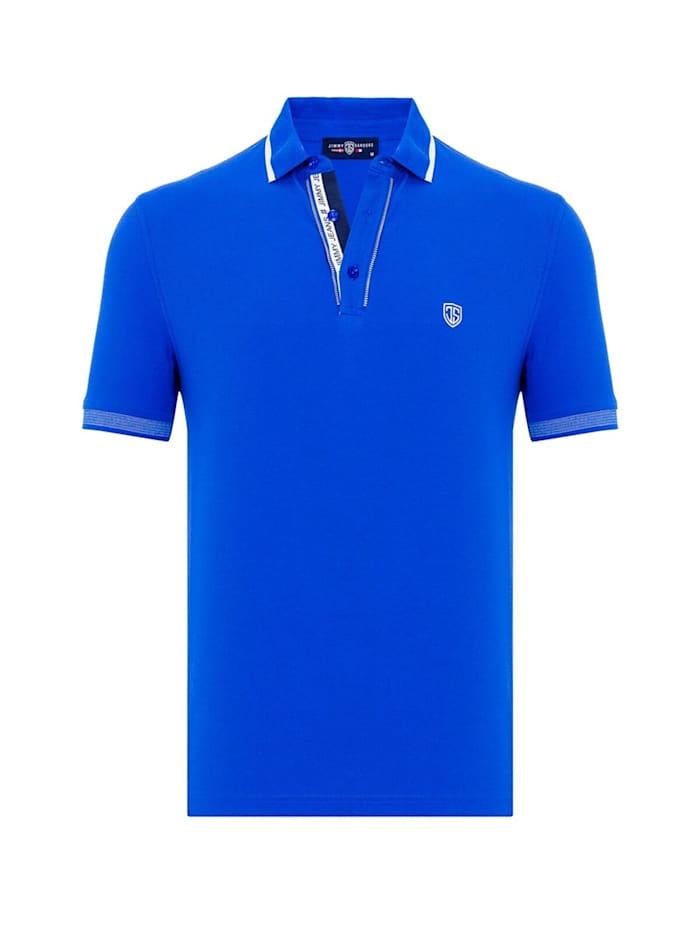 Jimmy Sanders Kurzarm Poloshirt Virino mit unifarbenem Stoff, Blau