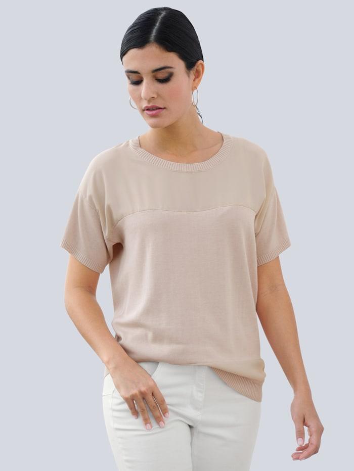 Alba Moda Pullover im effektvollen Materialmix, Beige