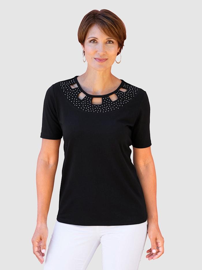 Paola Shirt met fraaie hals, Zwart