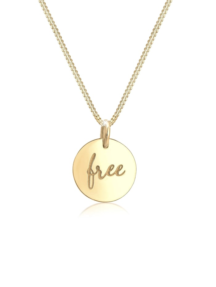 Elli Halskette Panzerkette Free Wording Boho Trend 925 Silber, Gold