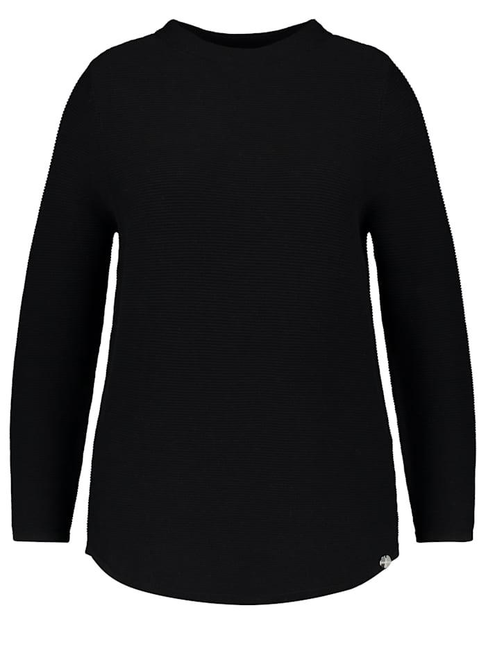 Samoon Baumwoll-Pullover aus Rippstrick, Black