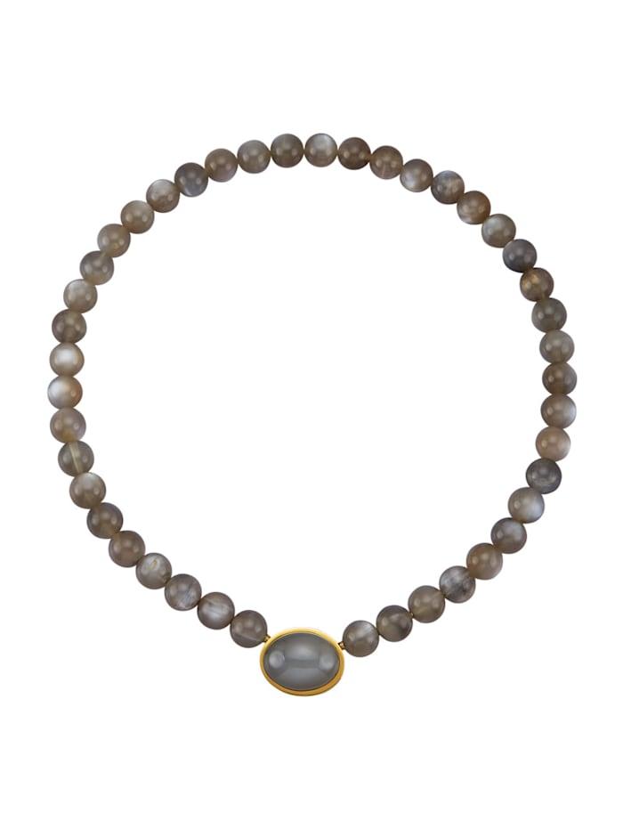 Diemer Farbstein Mondstein-Collier aus grauem Mondstein, Grau