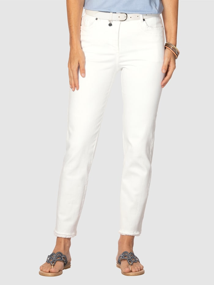 MONA Jeans med moteriktige frynser, Hvit