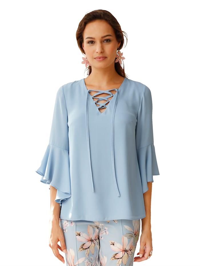 Bluse mit dekorativer Schnürung am V-Ausschnitt