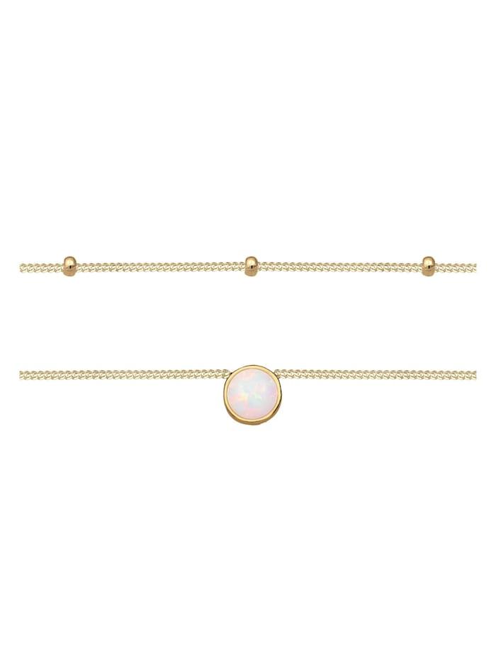 Halskette Choker Layer Opal Kugelkette 925 Sterling Silber