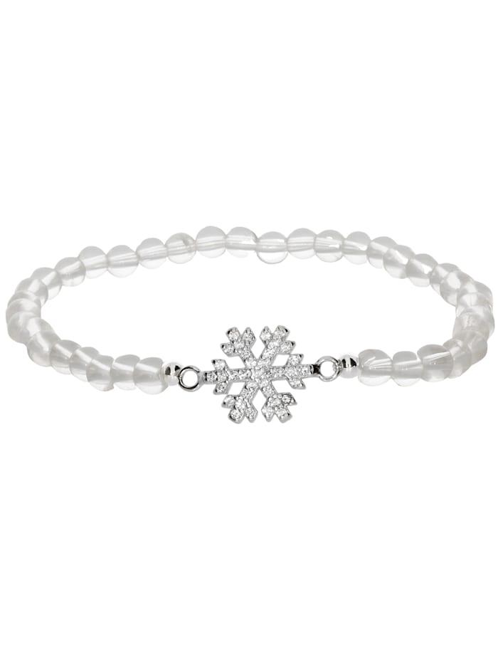 1001 Diamonds Schneeflocke Bergkristall Armband 925 Silber 17 cm, transparent