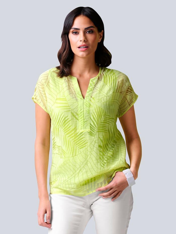 Alba Moda Bluse allover im floralem Ausbrenner-Dessin, Limettengrün