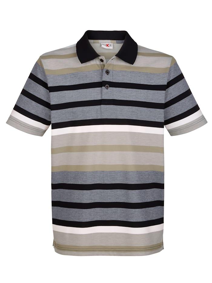 Roger Kent Poloshirt in garngefärbtem Streifenmuster, Marineblau