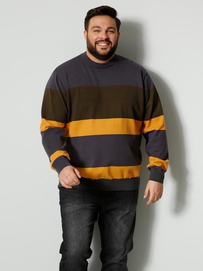 Men Plus Pullover mit Streifendesign, Gelb/Oliv