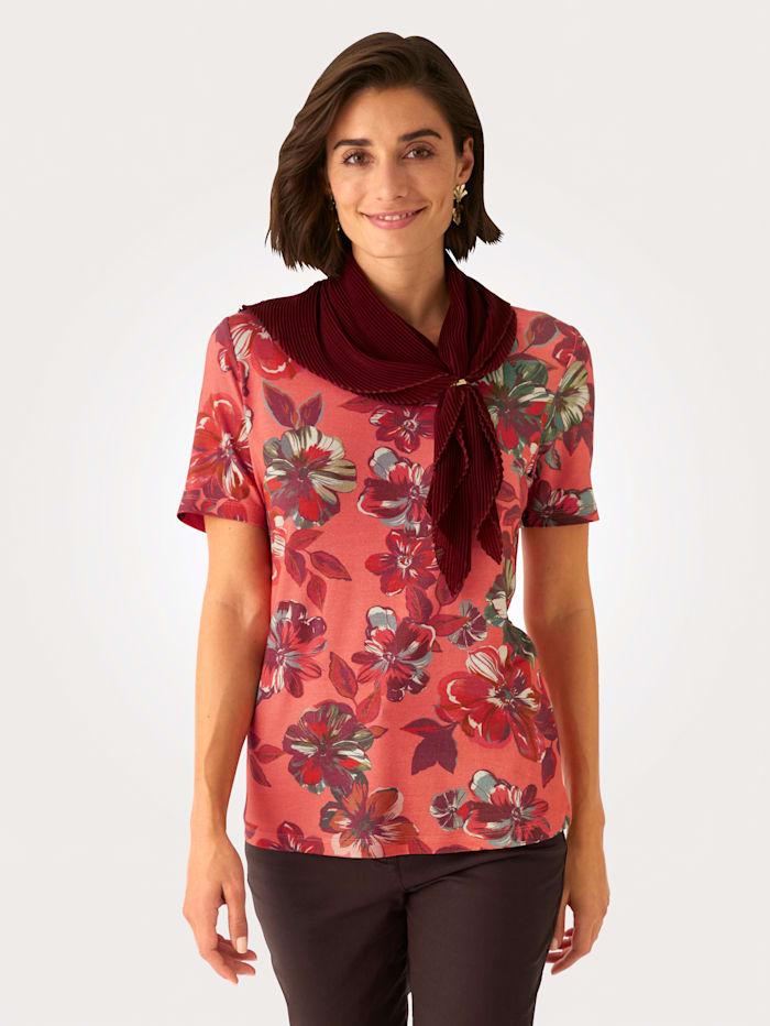 MONA Shirt mit Plisseeschal, Apricot