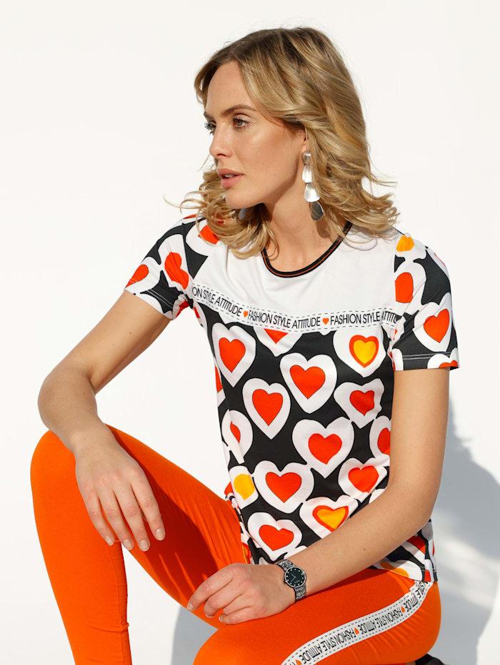 AMY VERMONT Shirt im Herzen-Dessin, Off-white/Schwarz/Orange